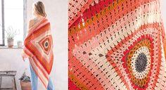 Le crochet est un plaisir gourmand quand il est travaillée avec ces fils aux couleurs fruitées qui forment les superbes motifs de ce châle.  Taille unique Le matériel Fil à tricoter qualité ...