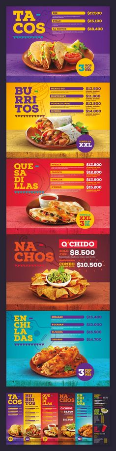 Menu Design / Q'Chido Mexican Food on Behance Menue Design, Food Graphic Design, Food Menu Design, Restaurant Menu Design, Graphic Design Inspiration, Restaurant Identity, Restaurant Restaurant, Design Poster, Flyer Design