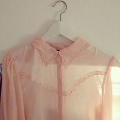 Sheer pink collared shirt