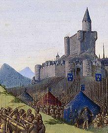 Prise de Foix par Philippe le Hardi en 1272.- Par des héritages, achats, unions et guerres, Philippe III s'attache sans cesse à agrandir le domaine royal et y affermir son autorité. Il a l'occasion de faire ses 1° faits d'armes en 1272, quand il convoque l'ost royale contre les comtes de Foix et d'Armagnac qui lui contestent son pouvoir. Armagnac se rend et Foix, battu, est emprisonné.