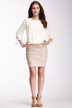 Pleated Bodice Contrast Dress