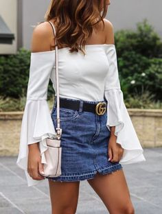 Gucci leather belt | Denim Skirt | Summer Outfit | HEATONMINDED