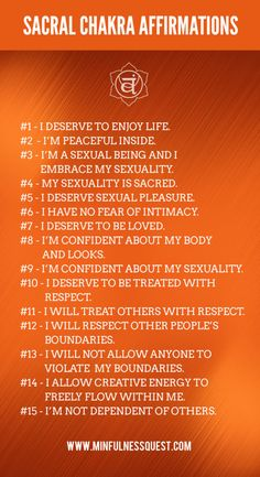 15 Affirmations for Healing the Sacral Chakra