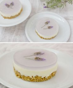 Lavanda cheesecake looks pretentious, but it's so pretty! Just Desserts, Delicious Desserts, Yummy Food, Cake Cookies, Cupcake Cakes, Cheesecake Recipes, Dessert Recipes, Lavender Recipes, Sweet Recipes
