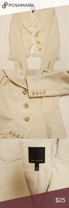 The Limited Blazer Women's size 0 Cream/ Beige Pre owned women's blazer. Gently used. Has a small stain in the sleeve that can be easily remove  with dry cleaning. The Limited Jackets & Coats Blazers