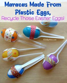 Maracas Made From Plastic Eggs, Recycle Those Easter Eggs! preschool Maracas Made From Plastic Eggs, Recycle Those Easter Eggs! - A Thrifty Mom - Recipes, Crafts, DIY and Plastic Easter Eggs, Easter Egg Crafts, Plastic Egg Crafts For Kids, Recycled Crafts For Kids, Easter Decor, Toddler Crafts, Preschool Crafts, Diy Crafts, Recycle Crafts