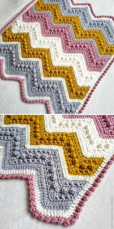 This lovely blanket is based on one the most cherished designs out there, free pattern called Hugs & Kisses Baby Blanket by Jeanne Steinhilber. Choose your colors and give it a try! Bobble Stitch Crochet Blanket, Crochet Baby Blanket Free Pattern, Blanket Stitch, Crochet Stitches, Crochet Patterns, Modern Crochet, Crochet Home, Kids Crochet, Unique Crochet
