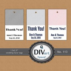 "PRINTABLE 1,5x2,5"" Wedding Favor Tags, Hang Tags, Gift Tags, Thank you Tags by DIVart"