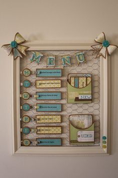 Menu board by Lisa Wake using the new skylark colletion Love this! To shop or jo. Menu board by Li Burlap Crafts, Diy And Crafts, Arts And Crafts, Paper Crafts, Chicken Wire Crafts, Craft Projects, Projects To Try, Menu Boards, Menu Planners