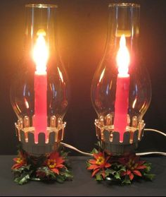 Vintage Electric Christmas Candles/ Hurricane Lamps Set of 2 #christmascandleselectric