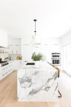 bright-white-kitchen-with-marble-waterfall-countertop-kitchen-marble - The world's most private search engine Best Kitchen Design, Interior Design Kitchen, Home Interior, Kitchen Designs, Elegant Kitchens, Cool Kitchens, Modern Kitchens, White Kitchens, Kitchen Modern