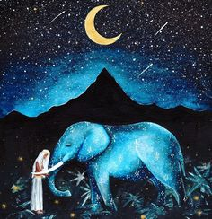 """Sharing another powerful affirmation from DreamyMoons Affirmations Card Deck 🌙 ✨ """"I live in the paradise of my own creation. Elephant Artwork, Elephant Love, Elephant Spirit Animal, Power Animal, Moon Art, Illustrations, Pretty Art, Indian Art, Painting & Drawing"""
