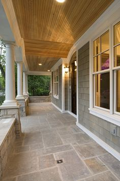 Porch Idea For Side Entrance Looks Fairly Easy To Do . An Elevated Front Porch And A Perfectly Placed Stairway . Solarium Pictures Photos And Decorating Ideas From Patio . Home and Family Porch Tile, Porch Flooring, Stone Flooring, House With Porch, House Front, Front Deck, Stone Front House, Veranda Design, Traditional Porch