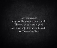 Lies and secrets. They are like a cancer in the soul. They eat away what is good and leave only destruction behind. Cassandra Clare
