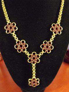 Jeweler's Brass and Burgundy Enameled Copper Japanese 12-in-2 Flower Y-Style Chainmaille Necklace by SilverTabbyStudios, $170.00