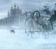 you have to wonder if the horses pulling the carriage are chasing the snow leopard or if it's leading them to the palace