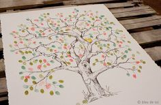 """From Mama's Style.  """"Fingerprint Tree ~ I love this idea! Draw a tree onto a canvas, and ask your guests to paint on the fingerprint """"leaves"""". Wouldn't this be perfect for a wedding, christening, milestone birthday etc...""""  http://www.facebook.com/photo.php?fbid=288937684501103=a.243770495684489.62707.218004321594440=3"""