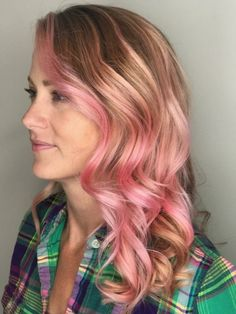 Pink waves! Hair color and style by Lauren!