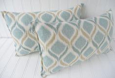Blue IKAT Throw Pillows 9 x 14 Inch Throw by MariaClaireInteriors