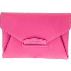 GIVENCHY 'Antigona' envelope clutch ($1,015) ❤ liked on Polyvore featuring bags, handbags, clutches, bolsas, purses, givenchy, pink purse, hand bags, man bag and leather envelope clutch