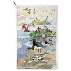 Seaside Landscape Tea Towel