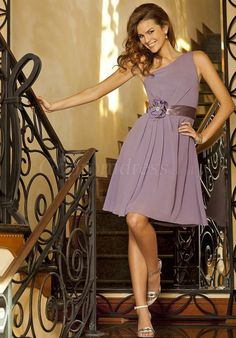 One Shoulder Lilac Chiffon Knee-length Bridesmaid Dress picture 1