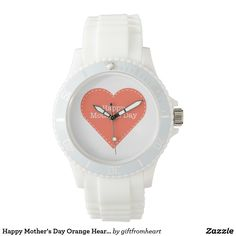 """Happy Mother's Day Orange Heart Women's Watch Orange Heart Women's Watch for Happy Mother's Day. You can click """"Customize it!"""" to create your gift by uploading your own photo/ picture/ design and/or adding texts. A special gift for her, for mom, for Mother's Day. Click https://www.zazzle.com/happy_mothers_day_orange_heart_womens_watch-256123095284235770?rf=238478323816001889 to get 15% off with code APRILSHOWERS. See more producte on collection…"""