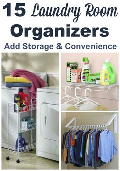 15 laundry room organizers that you can install or add to this room for more storage, or to make doing laundry easier for yourself. #ad