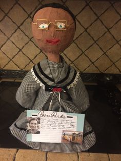 Rosa Parks - bottle person - 3rd grade - paper mâché and a 2 liter bottle