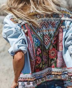 ♀♅☽ Embroidered Denim #jacket #outfit