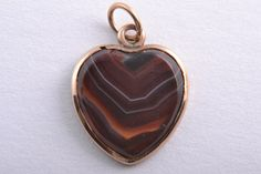 9ct Rose Gold Victorian Heart Charm / Pendant With Banded Agate From Scotland