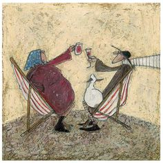 Sam Toft - Absent Friends - The Rose Gallery Love Sam, Naive Art, Couple Art, Whimsical Art, Dog Art, Oeuvre D'art, Art Forms, Art Gallery, Illustration Art
