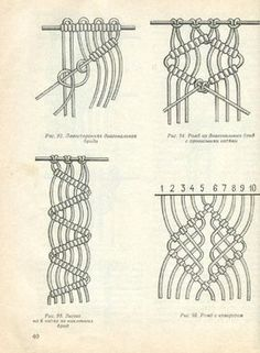 Macrame knot idea - love the middle joint!Diagrams for many macrame knots. Macrame Curtain, Macrame Plant Hangers, Macrame Bag, Macrame Bracelets, Art Macramé, Book Page Crafts, Micro Macramé, Macrame Design, Macrame Projects