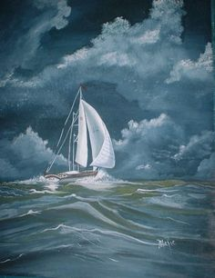 painting small sailboats in storm | Paintings
