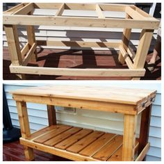 Easy step by step DIY potting bench tutorial. We built a knock off Pottery Barn bench/island for a fraction of the price! Outdoor Sinks, Narrow Shelves, Potting Tables, Thrifty Decor Chick, Diy Bench, Wooden Work Bench, Tool Bench, Bench Plans, Pallet Furniture