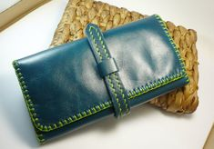 Trifold Woman Leather Clutch Wallet Leather Wallet by CraftCalling, $47.00