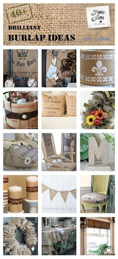 40 + darling burlap inspirations and DIY ideas.