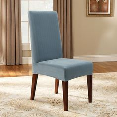 Sure Fit Pin-Striped Dining Chair Slipcover, Blue