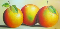 Pinturas con bodegones de frutas en gran tamaño , cuadros en las que admiramos naturalezas muertas como, granadillas, peras, manzanas y nar...