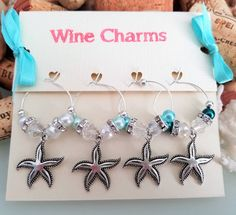 Starfish Wine Glass Charms, Aqua Beach Wedding Table Decor, Bridal Shower Favors, Beach Wedding Favors, Unique Wine Gift, LasmasCreations. by LasmasCreations on Etsy  #Wine #WineCharms #WineGlassCharms #WineFavors #BridalGifts #BridalShowerFavors #StarfishWineCharms #BeachWineCharms #AquaWineCharms #PartyFavors #BeachBridalShower #BeachTheme #Custom Favors #LasmasCreations #shop @ #etsy