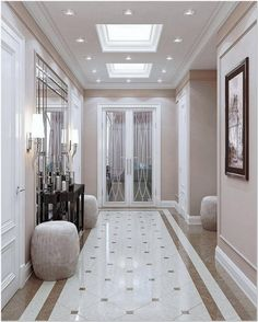 40 Astonishing Home Corridor Design For Your Home Inspiration 30 - grhaku Home Floor Design, Home Interior Design, House Design, Flur Design, Plafond Design, Luxury Home Decor, Luxury Homes, Decoration Hall, Marble House