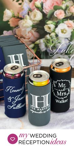 Available in 6 trendy colors, custom Slim Can Coolers are the way to go for a fun and useful wedding favor! Best Wedding Favors, Gifts For Wedding Party, Party Gifts, Wedding Reception, Personalized Cocktail Napkins, Trendy Colors, Bar Ideas, Coolers, Wedding Inspiration