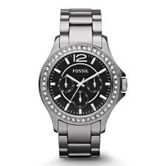 FOSSIL RILEY Women's OVERSIZED Ceramic Austrian Crystals Black Dial Day/Date/24 Hour Watch CE1067 | WatchCorridor
