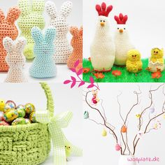Find the best free Easter crochet and knitting patterns here! From crocheted Easter bunnies to knitted placemats. Continue reading and pick your favourite! Easter Crochet Patterns, Knitting Patterns, Crochet Easter, Crochet Ideas, Crochet Embellishments, Holiday Crochet, Coloring Easter Eggs, Easter Holidays, Handmade Decorations