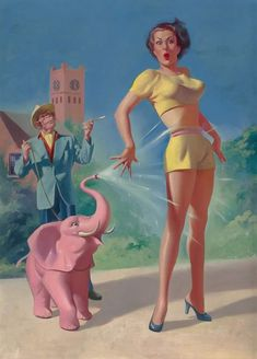 Keith Richards's magic pink elephant spouts water at a girl. I think? Harold McCauley cover art for Total Digest (July Pulp Fiction Art, Science Fiction Art, Pulp Art, Crime, Gil Elvgren, American Indian Art, Keith Richards, Pink Elephant, Pin Up Art