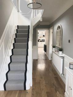 Hallway with Pavillion Grey Farrow & Ball, Herringbone Wool Stair runner. Grey Hallway, Tiled Hallway, Hallway Ideas Entrance Narrow, Hallway Flooring, Modern Hallway, Entrance Ideas, Entry Hallway, Entrance Hall, Entryway