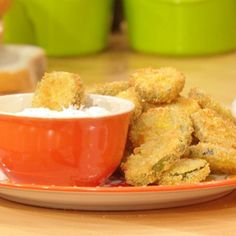 fried pickle chips with ranch dipper