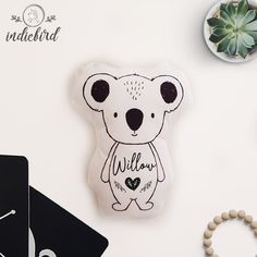 Personalised Koala Plush Rattle or Pillow, baby rattle, plush toy, Koala pillow, Monochrome, Heart, keepsake, Baby shower gift Baby Snuggle Blanket, Personalised Cushions, Baby Rattle, Unique Gifts, Handmade Gifts, Cute Characters, Personalized Baby, Baby Shower Gifts, Monochrome