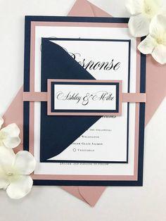 Navy Blue and Dusty Rose Pink Wedding Invites Wedding