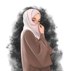 #kaplumbik #my_mine Hijabi Girl, Girl Hijab, Muslim Girls, Muslim Women, Hijab Drawing, Hijab Style Tutorial, Islamic Cartoon, Anime Muslim, Hijab Cartoon